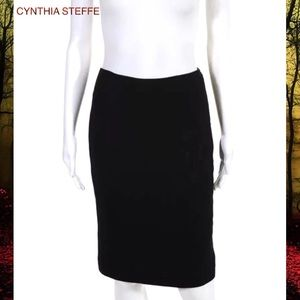 CYNTHIA STEFFE Blk Rose Stitched Pencil Skirt